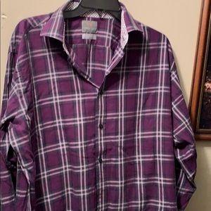 Thomas Dean Large all cotton shirt purple/gray